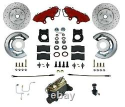 Manual Front Disc Brake Conversion Kit, Factory look Red Coated Calipers