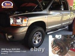Dodge Ram 3500 2000-2002 (drw) Manuel De Verrouillage Hub Kit De Conversion